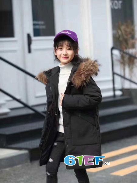 欧米源童装品牌韩版大毛领纯色羽绒服