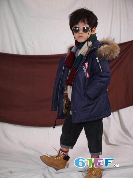 琴小鸥qinxiaoou童装品牌2018秋冬中长款加厚大毛领男童中小童羽绒服