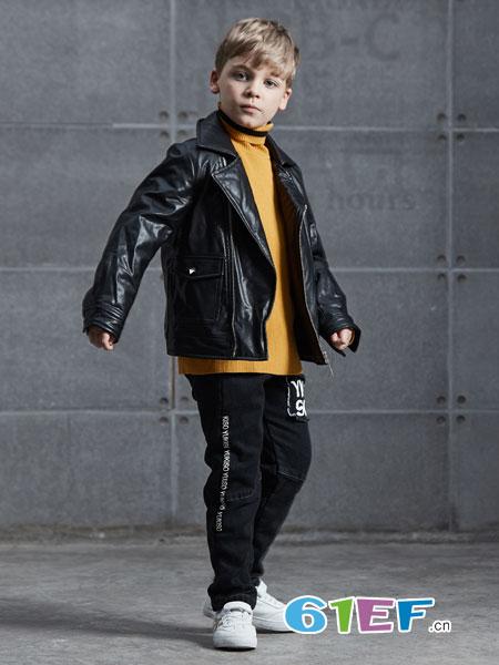 YukiSo童装品牌2018秋冬短款翻领斜拉链皮夹克外套