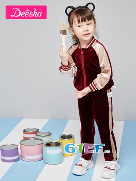笛莎童装品牌2019春季插肩袖丝绒休闲运动套装两件套