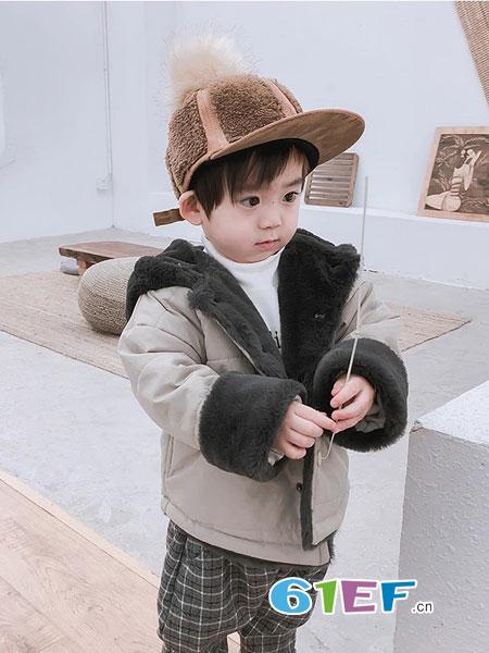 萌宝基地童装品牌2018秋冬夹棉外套时尚连帽男童棉衣保暖