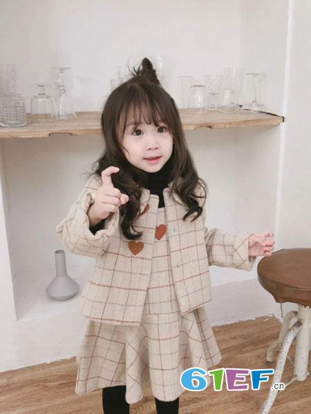 萌宝基地童装品牌2018秋冬韩版刺绣外套+背心裙2件套中小童名媛风套装