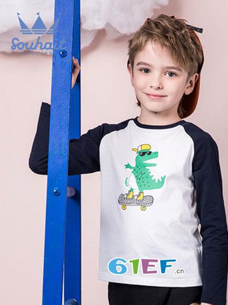 水孩儿souhait童装品牌2019春季纯棉长袖T恤时尚印花圆领上衣