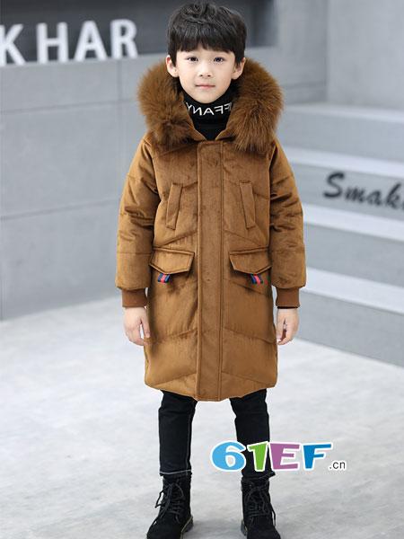 贝卡酷童装品牌2018秋冬中长款加厚棉服棉袄韩版
