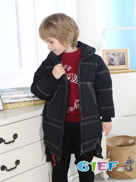 Fun World凡兜童装品牌2018秋冬新款男孩中长款棉服加厚外套