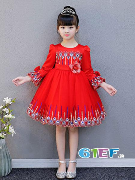 咕噜噜GULULU童装品牌2018秋冬长袖公主蓬蓬裙时尚红色连衣裙
