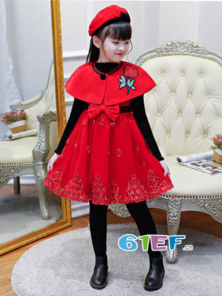 咕噜噜GULULU童装品牌2018秋冬洋气呢子公主裙