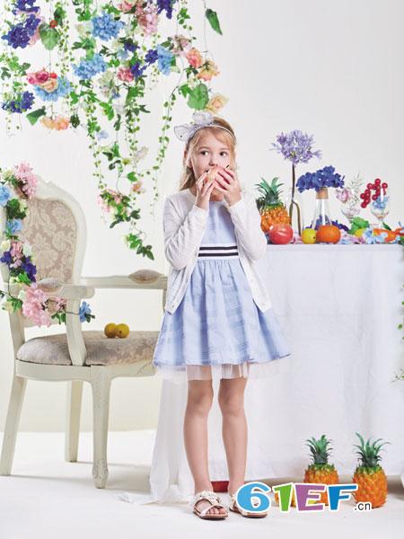 铅笔俱乐部童装品牌2019春夏松紧腰亚麻A字裙中长裙