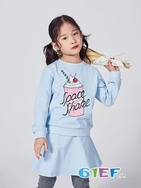 喵哒童装品牌2018秋冬韩版宽松百搭长袖圆领卫衣裙