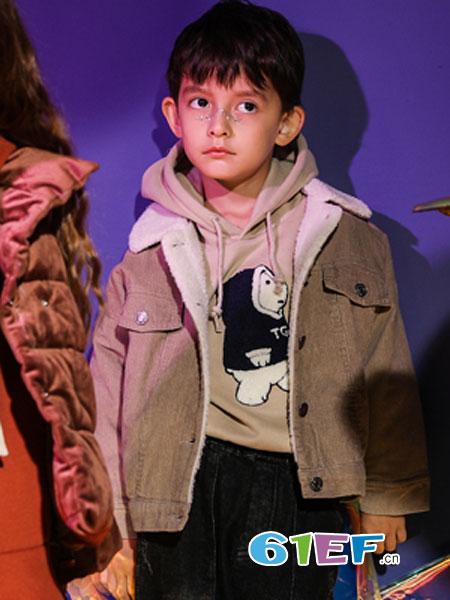 汤尼罗宾童装品牌2018秋冬新款灯芯绒加绒加厚夹克棉袄
