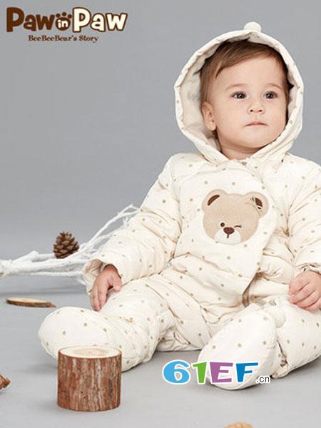 pawinpaww童装品牌童装品牌2018秋冬羽绒连体服白鸭绒保暖