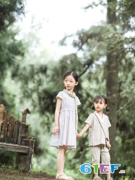 魔方童装品牌2019春季短袖套装亚麻茶服两件套