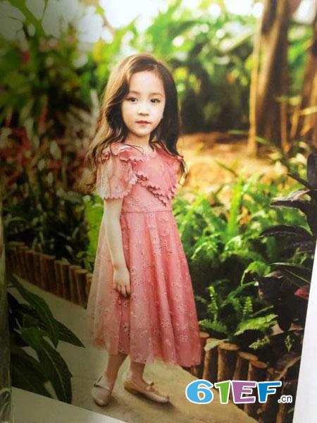 魔方童装品牌2019春季长袖韩版童装洋气儿童公主网纱裙