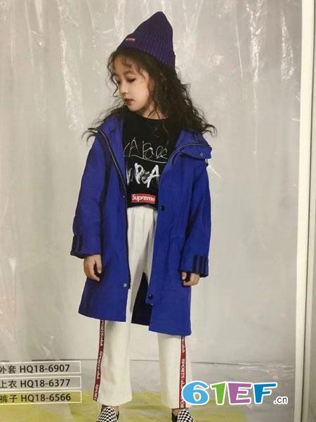 魔方童装品牌2019春季中长款风衣外套