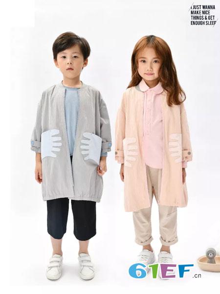 NNE&KIKI童装品牌2019春季韩版毛茸茸针织衫连帽大衣