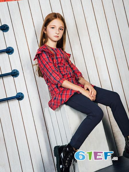 暇步士童装品牌2019春夏女大童新款两件套装