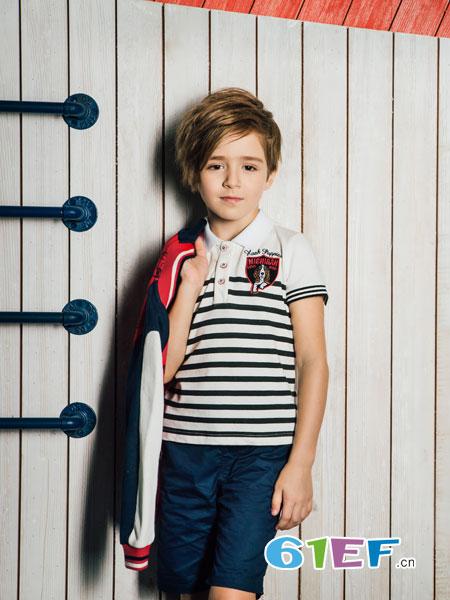 暇步士童装品牌2019春夏卡通条纹贴布男童圆领印花长袖T恤