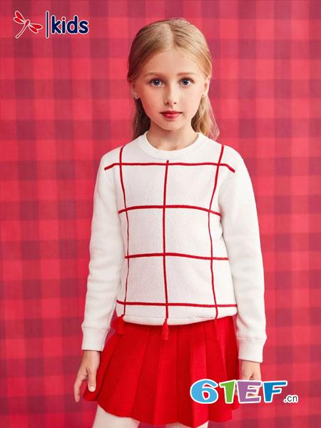 红蜻蜓KIDS童装品牌2018秋冬加绒加厚打底衫保暖上衣