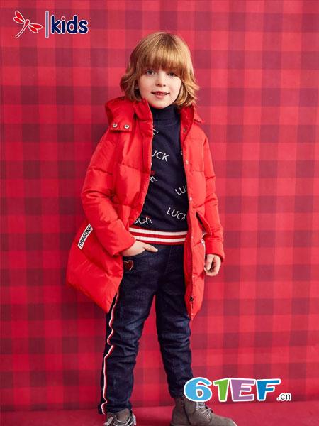 红蜻蜓KIDS童装品牌2018秋冬加厚保暖连帽时髦休闲面包服
