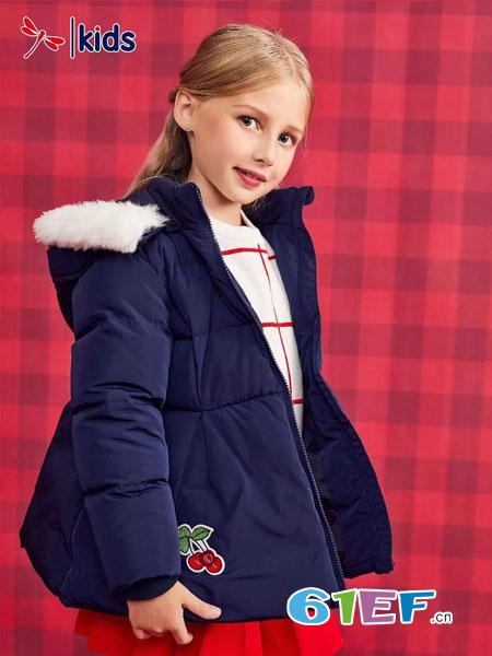 红蜻蜓KIDS童装品牌2018秋冬中长款女童刺绣百搭童装