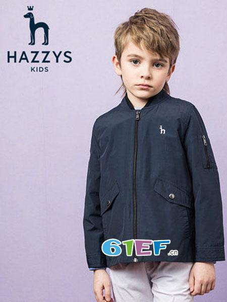 哈吉斯童装品牌2019春季两件套立领拉链儿童风衣套装