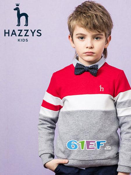 哈吉斯童装品牌2019春季长袖时尚撞色卫衣