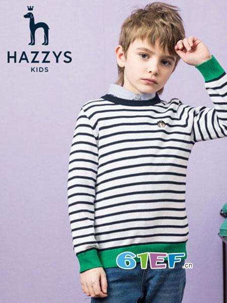 哈吉斯童装品牌2019春季条纹撞色上衣针织衫套头
