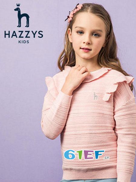 哈吉斯童装品牌2019春季针织衫中大童套头线衣
