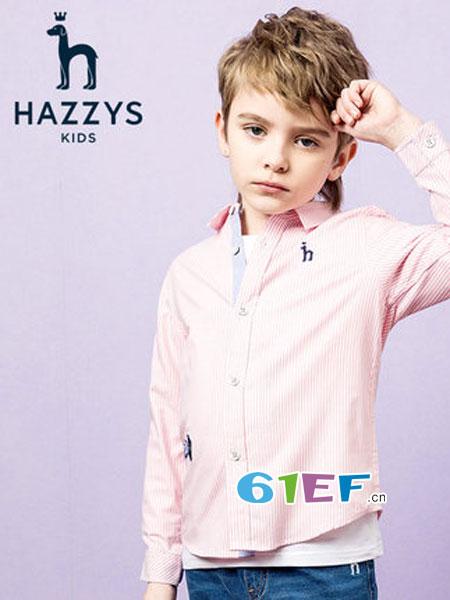 哈吉斯童装品牌2019春季长袖撞色条纹衬衣