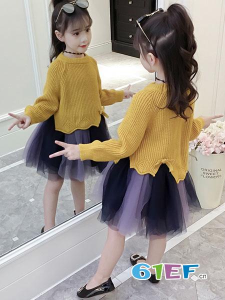 OLAMLEIZ KIDS童装品牌2018秋冬韩版洋气儿童长袖公主裙蓬蓬纱裙子