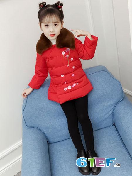 OLAMLEIZ KIDS童装品牌2018秋冬红色棉衣中大童羽绒棉服短款