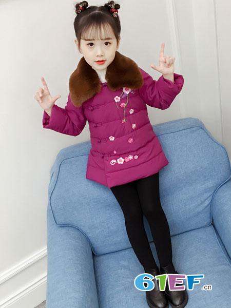OLAMLEIZ KIDS童装品牌2018秋冬中国风刺绣旗袍外套女孩唐装加厚棉服潮
