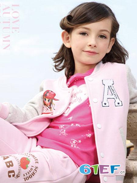 北京abc童装品牌2018秋冬卡通图案粉色棒球服卫衣潮