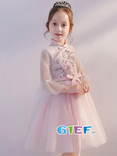 福库斯科童装品牌2018秋冬中国风女童蓬蓬纱