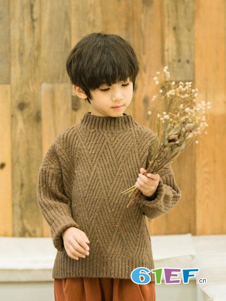 植木森系童装品牌2018秋冬高领毛衣中童儿童麻花毛衣