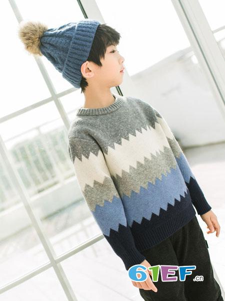 植木森系童装品牌2018秋冬圆领套头新款男童撞色日系毛衣
