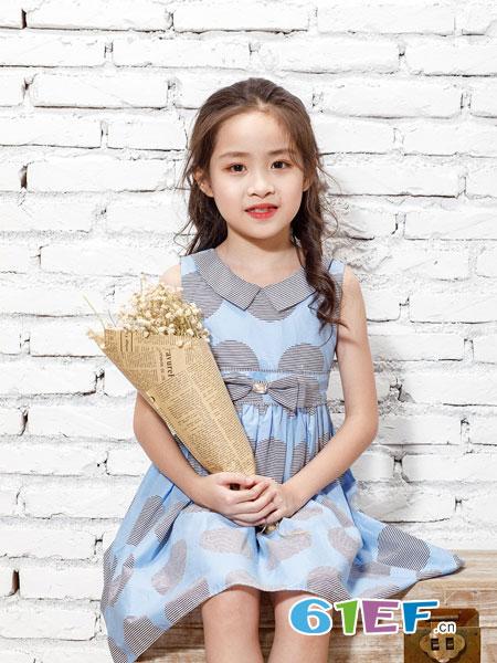 乖乖狗童装品牌2019春夏新款无袖连衣裙修身裙子娃娃领蕾丝中长裙