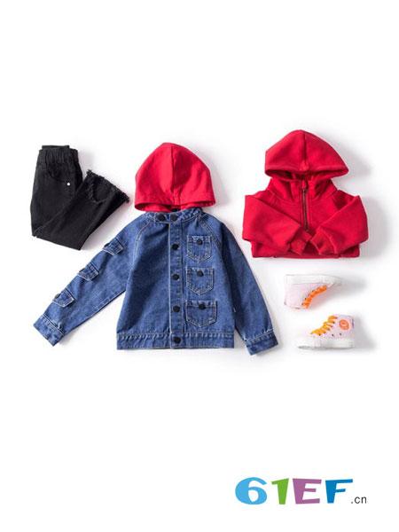mayas童装品牌2018秋冬儿童牛仔衣外套夹克上衣潮