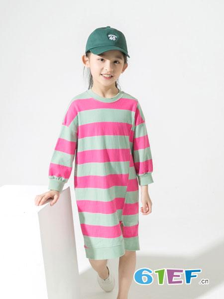 兔子杰罗童装品牌2019春季女童上衣 拼接条纹T恤