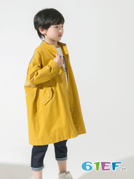 兔子杰罗童装品牌2019春季印花长袖中长款外套