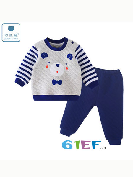 巧尼熊童装品牌2018秋冬时髦开衫加厚夹棉护肚女孩宝宝保暖内衣服