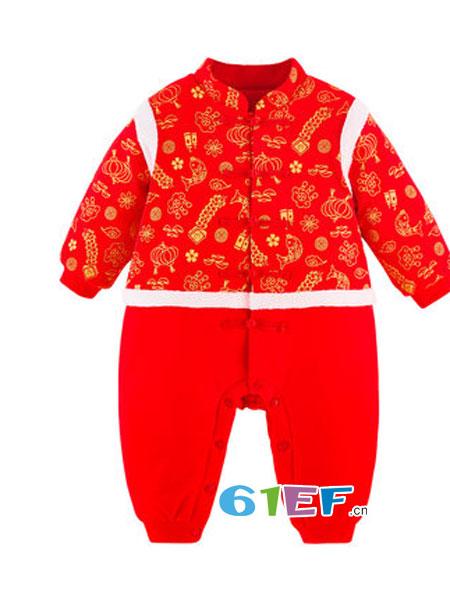 巧尼熊童装品牌2018秋冬棉袄爬服中国风唐装婴儿周岁服