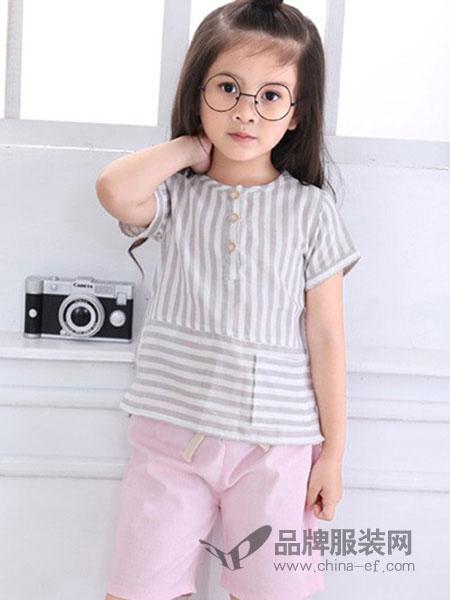 摩卡小宝童装品牌2018春夏灰色条纹T恤