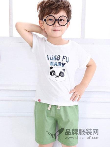 摩卡小宝童装品牌2018春夏白色熊猫T恤