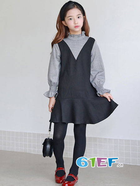MEMENE KIDS米米你童装品牌2018秋冬假两件连衣裙细格日系甜