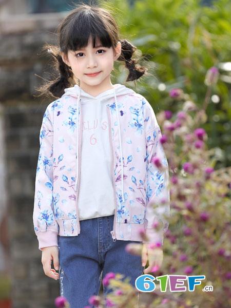 班吉鹿banjilu童装品牌2019春夏女童风衣外套洋气卡通印花连帽宝宝儿童休闲外套