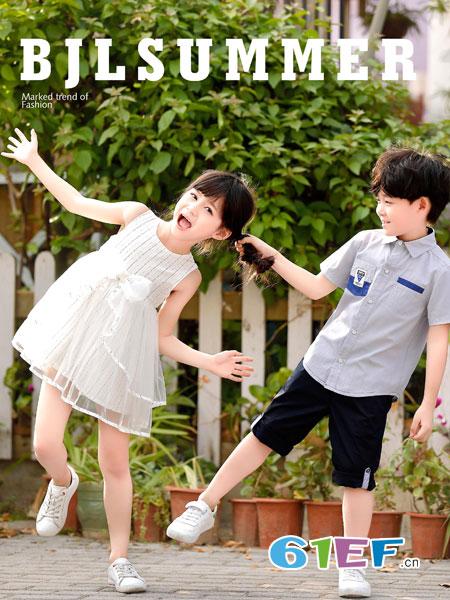 班吉鹿banjilu童装品牌2019春夏短袖衬衣时尚翻领休闲儿童上衣