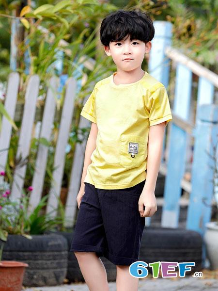 班吉鹿banjilu童装品牌2019春夏儿童短袖t恤男孩体恤中大童夏季韩版潮纯色