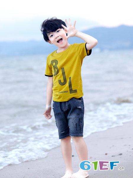 班吉鹿banjilu童装品牌2019春夏纯棉新款宽松男孩韩版儿童潮童半袖童装短袖T恤