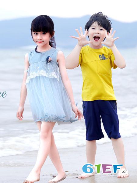 班吉鹿banjilu童装品牌2019春夏新款女童t恤短裤两件套潮